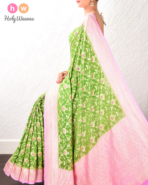 Green-Pink Banarasi Cutwork Brocade Handwoven Khaddi Georgette Saree with Meenedar Jaal