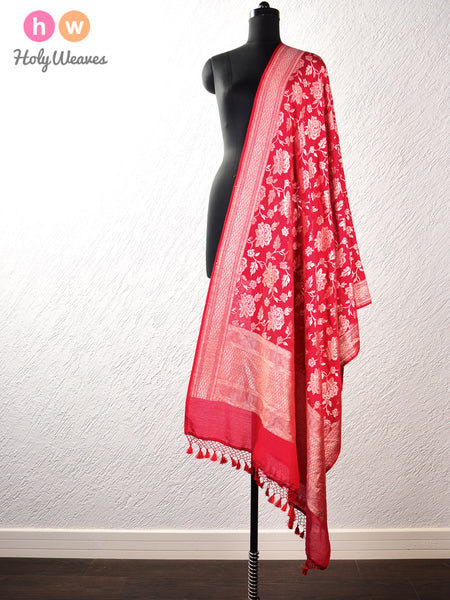 Red Banarasi Cutwork Brocade Handwoven Muga Silk Dupatta