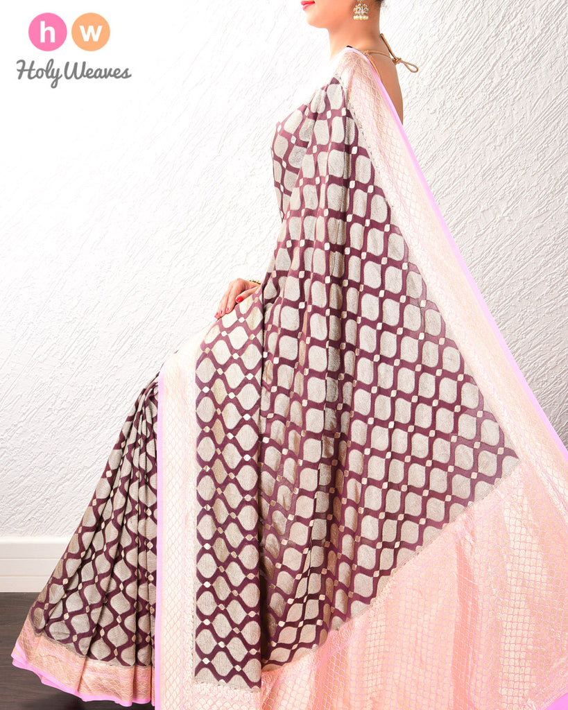 Cinnamon Brown-Pink Banarasi Cutwork Brocade Handwoven Khaddi Georgette Saree