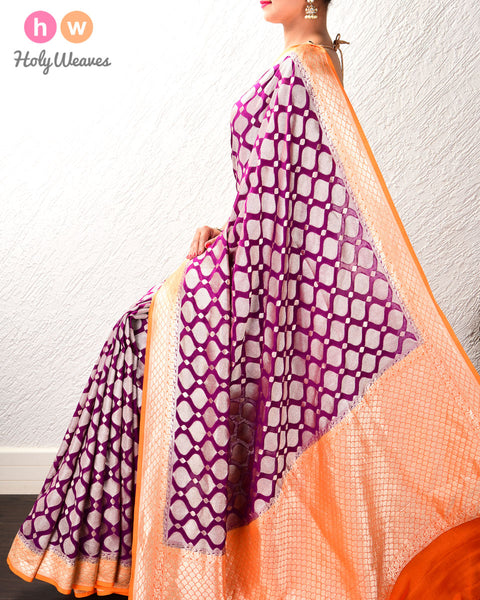 Purple-Orange Banarasi Cutwork Brocade Handwoven Khaddi (खड्डी) Georgette Saree
