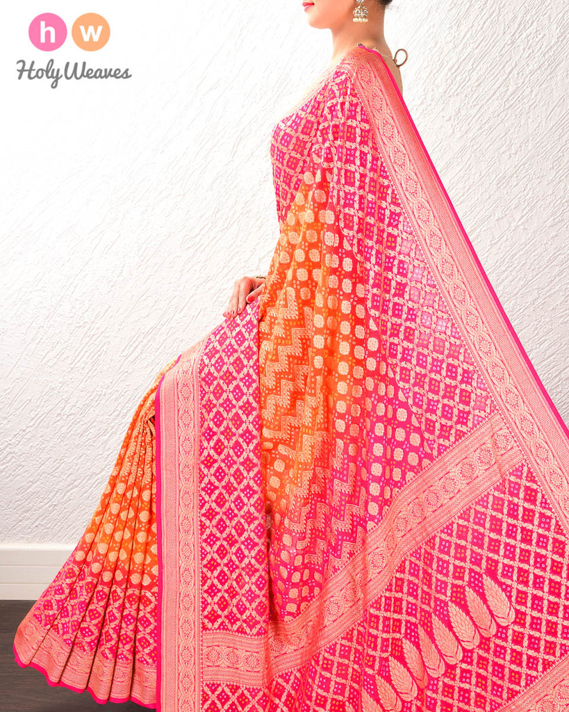 Orange-Pink Banarasi Cutwork Brocade Handwoven Khaddi Georgette Saree with 2-color Bandhej