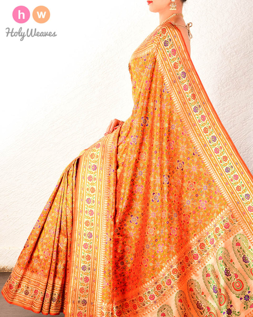 Orange Banarasi Jamdani Brocade Handwoven Katan Silk Saree