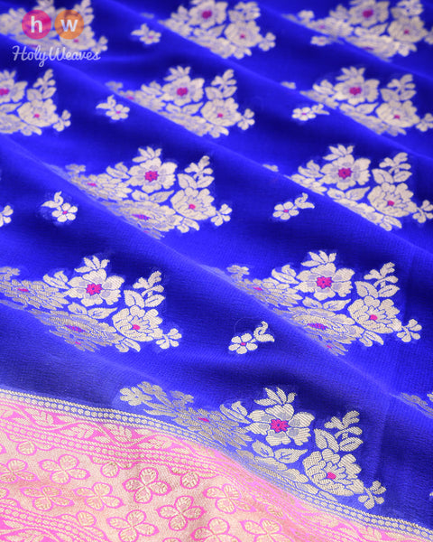 Royal Blue-Pink Banarasi Cutwork Brocade Handwoven Khaddi (खड्डी) Georgette Saree with Pink Meena-buta