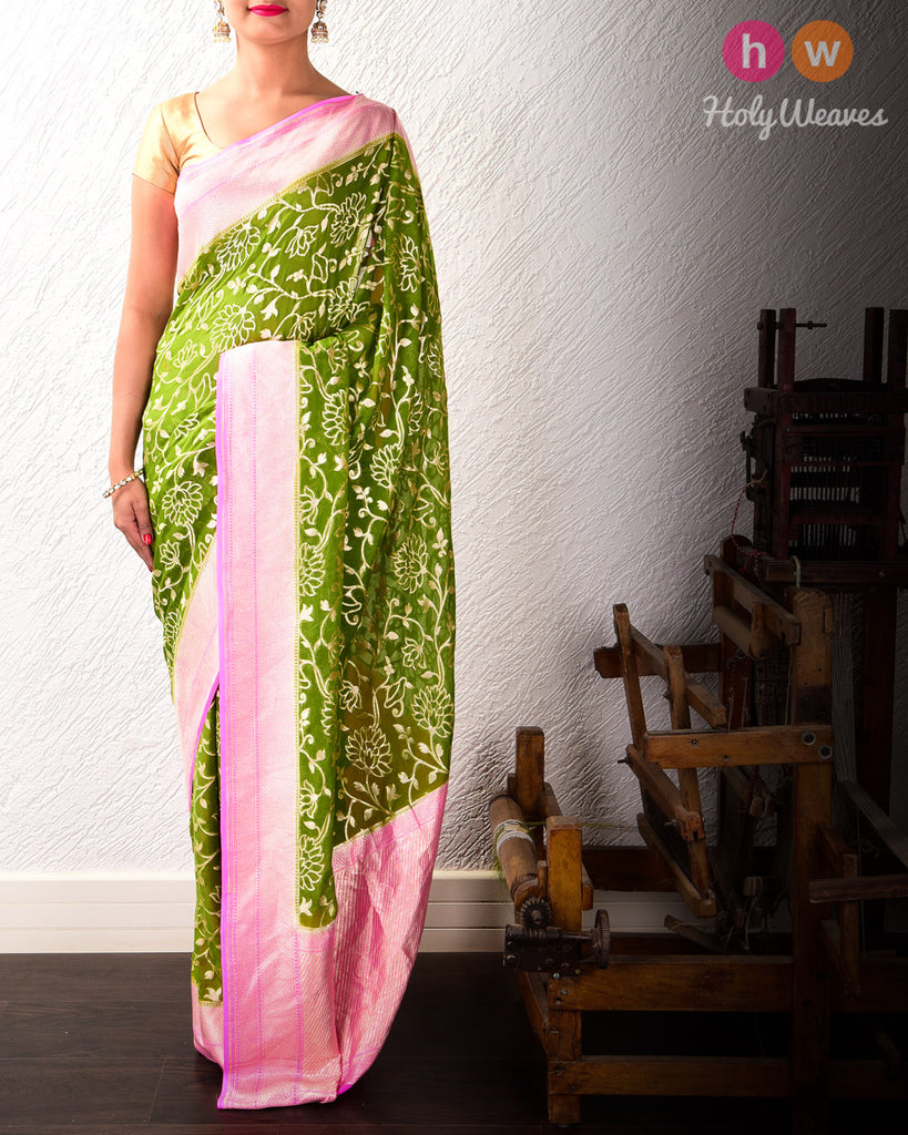 Green-Pink Banarasi Cutwork Brocade Handwoven Khaddi (खड्डी) Georgette Saree with Silouette Jaal