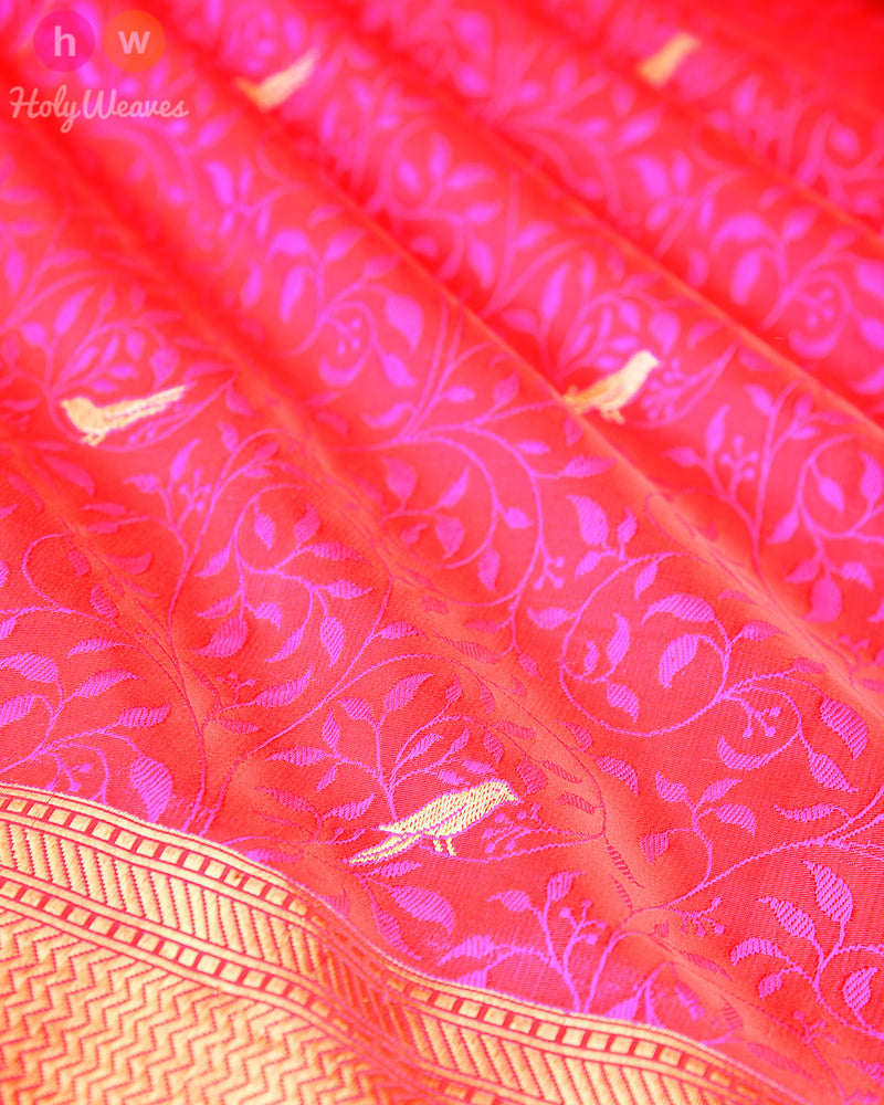 Pink Banarasi Chiraiyya Tanchoi Brocade Handwoven Katan (कतान) Silk Saree - HolyWeaves