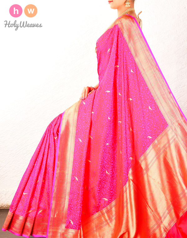 Pink Banarasi Chiraiyya Tanchoi Brocade Handwoven Katan (कतान) Silk Saree- HolyWeaves