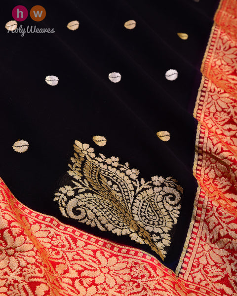 Black Banarasi Buti Sona Rupa Kadhuan Brocade Handwoven Khaddi Georgette Saree with Contrast Red Border Pallu