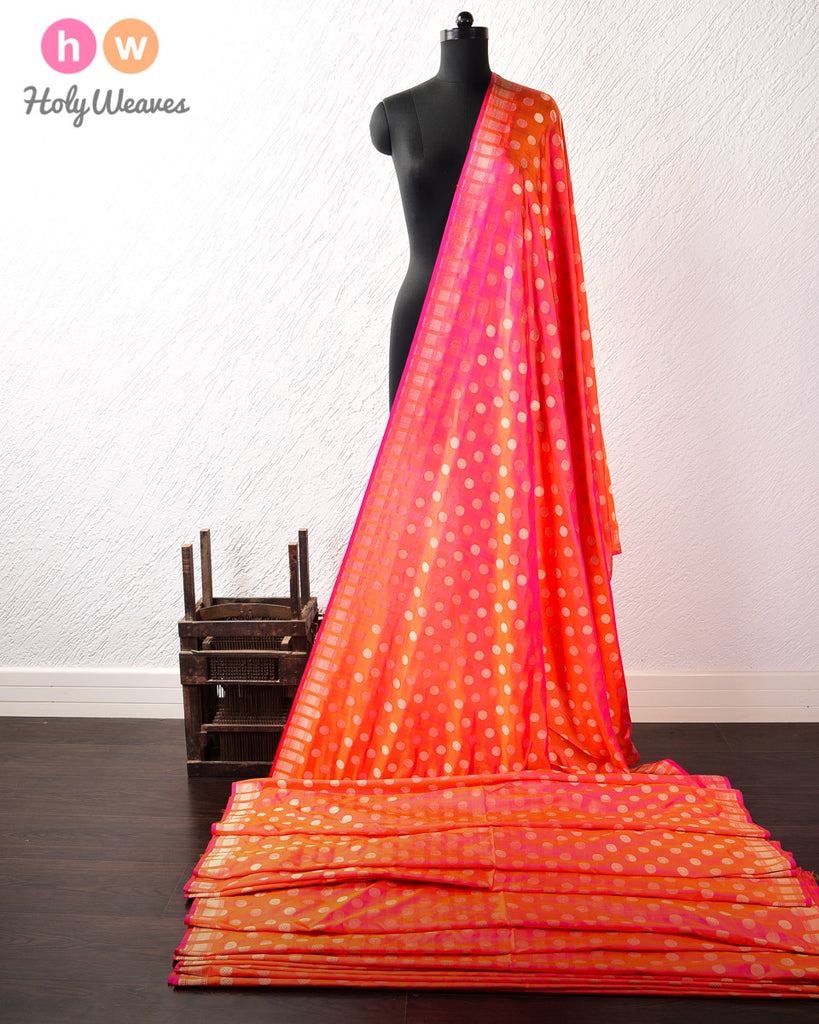 Pink-Orange Dhoop-Chhanv Banarasi Cutwork Brocade Handwoven Katan Silk Fabric with Zari Polka Buti