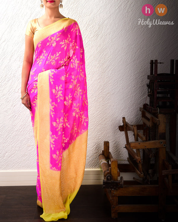 Rani Pink-Yellow Banarasi Cutwork Brocade Handwoven Khaddi (खड्डी) Georgette Saree with Blue Eyed Raven- HolyWeaves