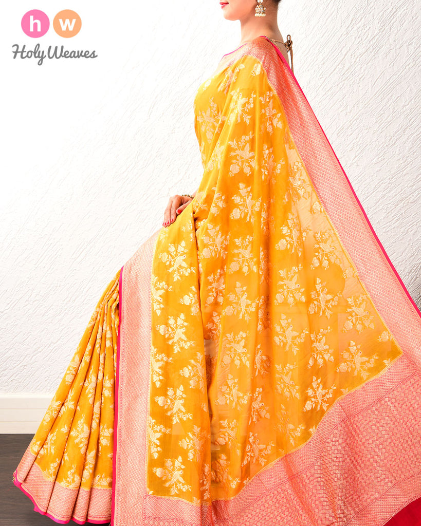 Mustard Yellow Banarasi Cutwork Brocade Handwoven Khaddi (खड्डी) Georgette Saree with Red Eyed Raven