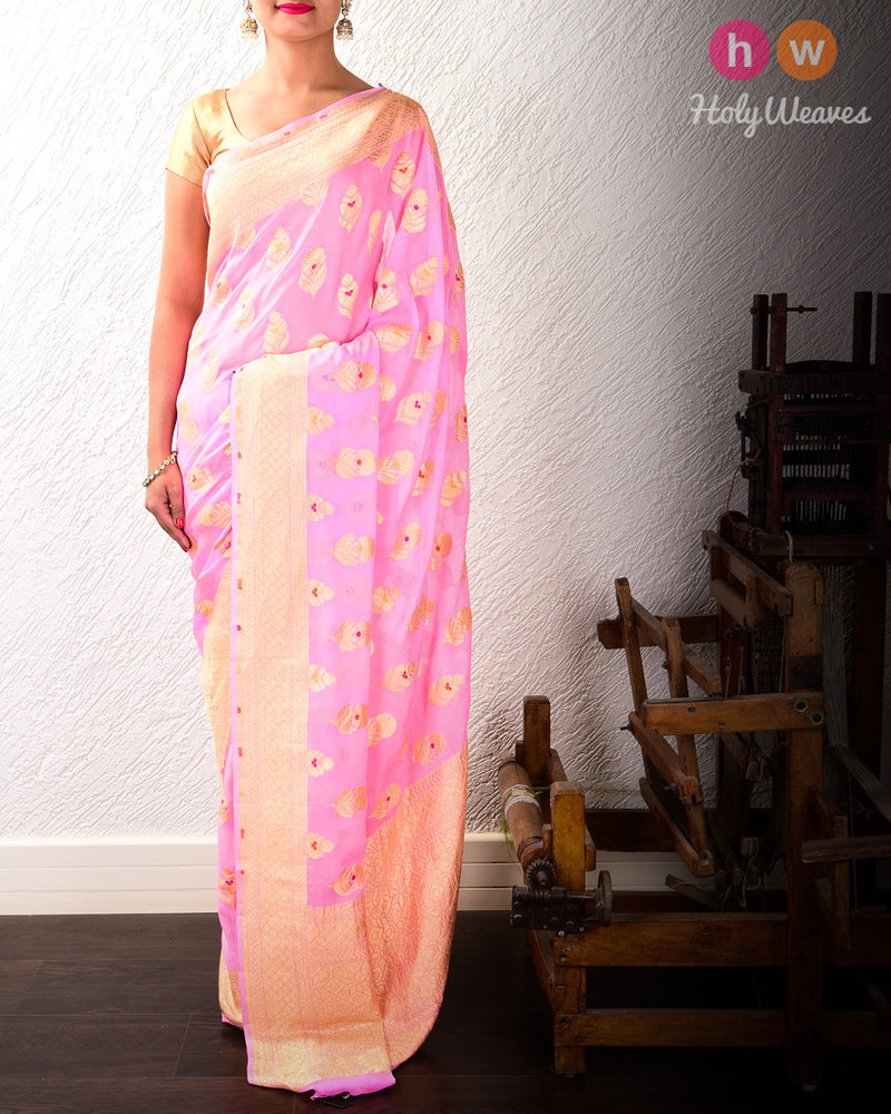 Carnation Pink Banarasi Alfi (अल्फ़ी) Cutwork Brocade Handwoven Khaddi (खड्डी) Georgette Saree with Meenedar Buta- HolyWeaves