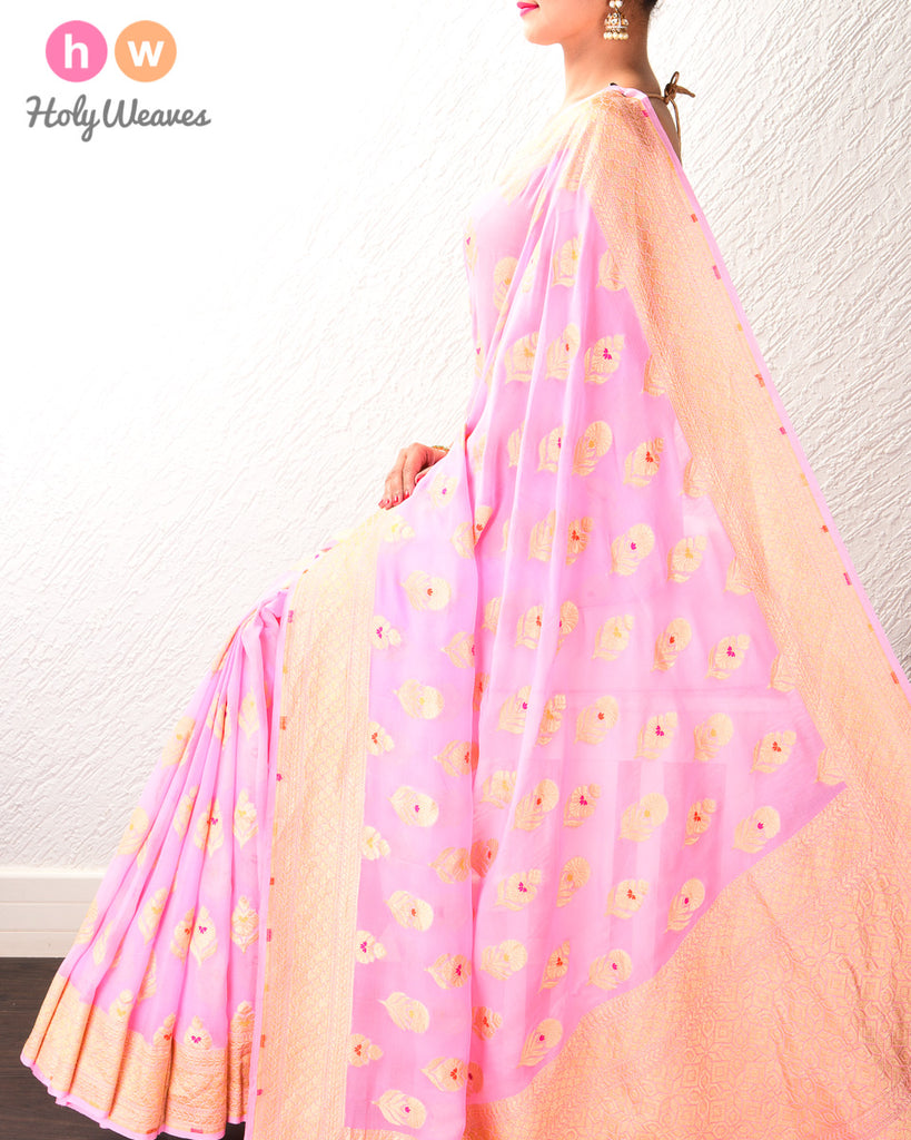 Carnation Pink Banarasi Alfi (अल्फ़ी) Cutwork Brocade Handwoven Khaddi (खड्डी) Georgette Saree with Meenedar Buta