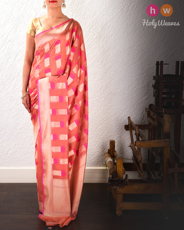 Peach Banarasi Cutwork Brocade Handwoven Cotton Silk Saree with Stylised Lotus Buta- HolyWeaves