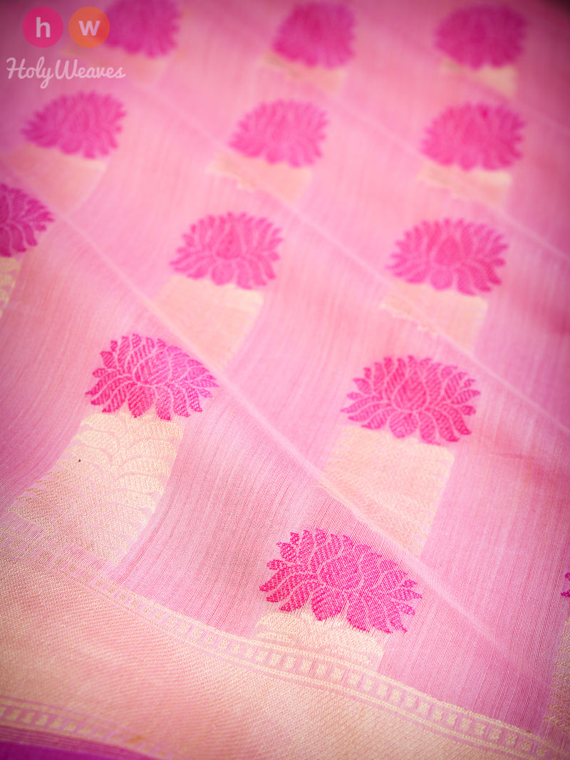 Pink Stylised Lotus Buta Cutwork Brocade Handwoven Pure Cotton Silk Saree - HolyWeaves