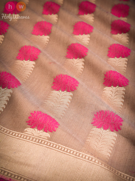Rosy Brown Stylised Lotus Buta Cutwork Brocade Handwoven Pure Cotton Silk Saree