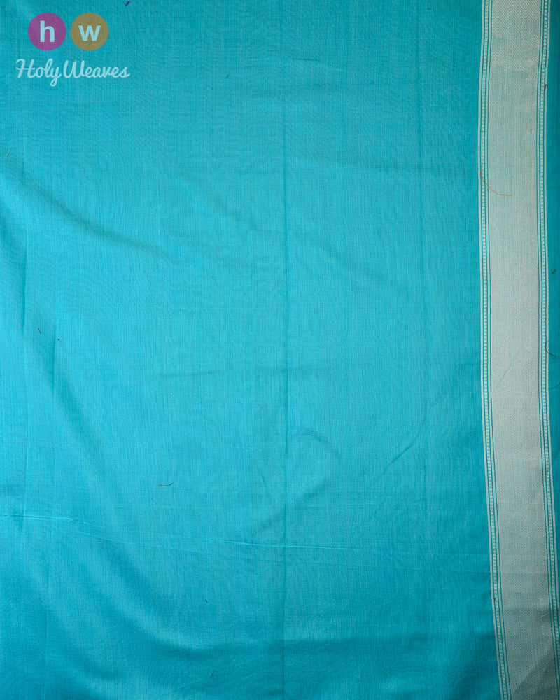 Turquoise Green Banarasi Alfi (अल्फ़ी) Cutwork Brocade Handwoven Cotton Silk Saree - HolyWeaves