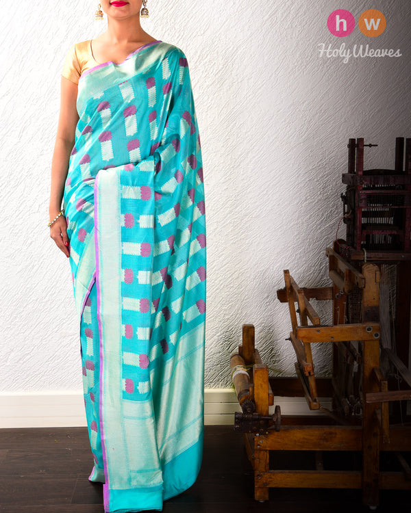 Turquoise Green Banarasi Alfi (अल्फ़ी) Cutwork Brocade Handwoven Cotton Silk Saree- HolyWeaves