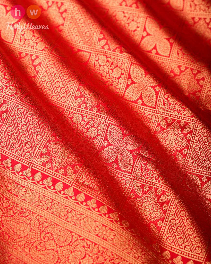 Red Banarasi Zari-Blocks Brocade Handwoven Katan Silk Saree