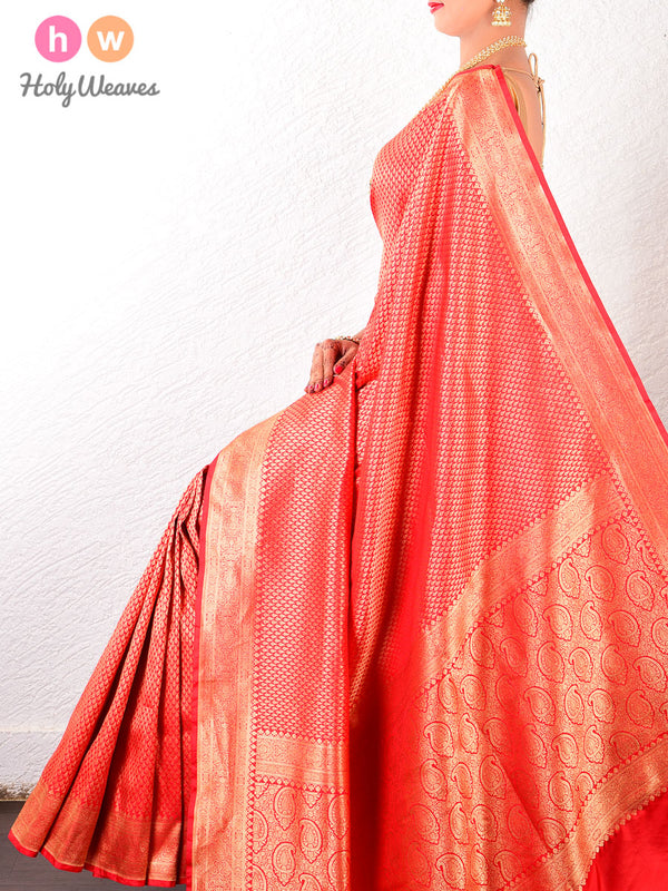 Red Banarasi Zari-Paisleys Brocade Handwoven Katan (कतान) Silk Saree- HolyWeaves