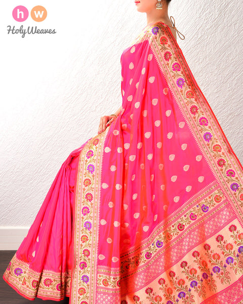 Ruby Pink Banarasi Paithani Cutwork Brocade Handwoven Katan Silk Saree with Tilfi (3-color meenekari) border pallu