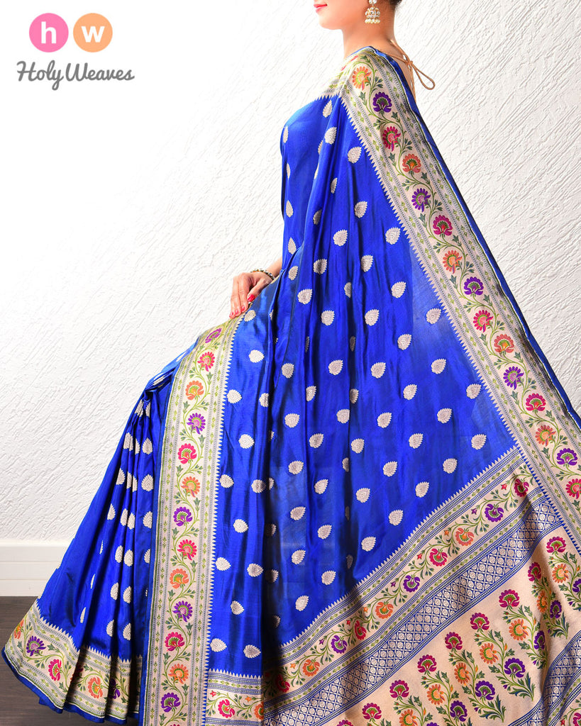 Sapphire Blue Banarasi Paithani Cutwork Brocade Handwoven Katan Silk Saree with Tilfi (3-color meenekari) border pallu