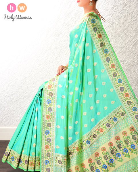 Paris Green Banarasi Paithani Cutwork Brocade Handwoven Katan Silk Saree with Tilfi (3-color meenekari) border pallu