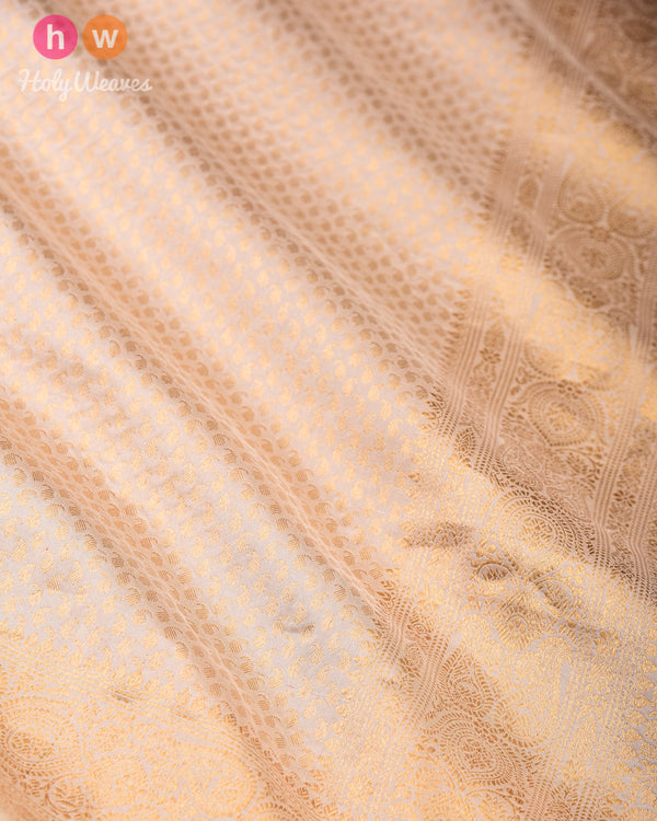 Cream Banarasi Zari-Paisleys Brocade Handwoven Katan (कतान) Silk Saree - HolyWeaves