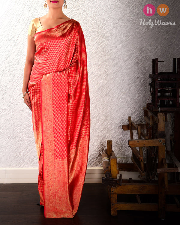 Red Banarasi Zari-Paisleys Brocade Handwoven Katan (कतान) Silk Saree - HolyWeaves