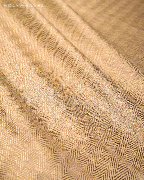 Golden Beige Chevron Khiccha Satin Cutwork Brocade Woven Art Silk Fabric - HolyWeaves