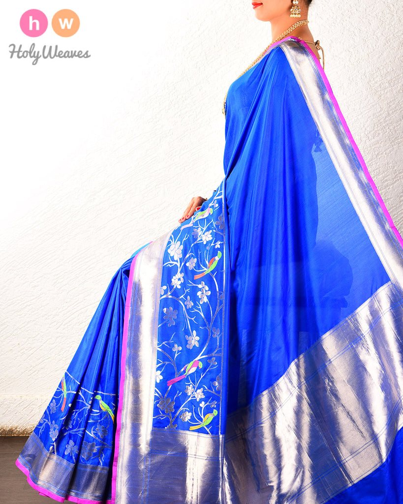 Blue Banarasi Cutwork Brocade Handwoven Katan Silk Saree