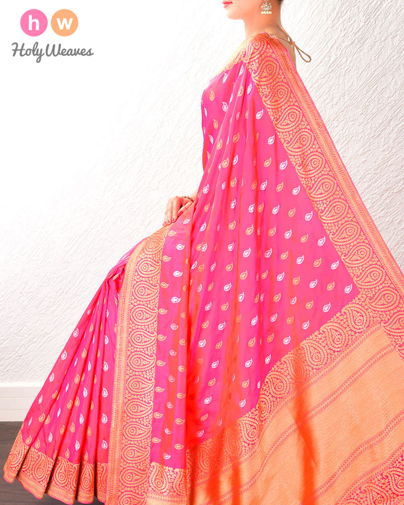 Ruby Pink Banarasi Alfi Brocade Handwoven Katan Silk Saree with Gold & Silver Buti