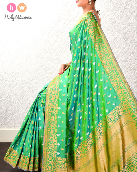 Green Banarasi Alfi (अल्फ़ी) Sona-Rupa Brocade Handwoven Katan (कतान) Silk Saree with Brocade Blouse Piece
