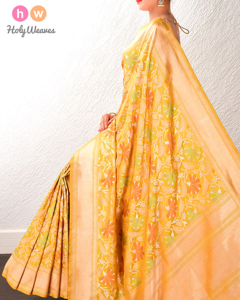 Mustard Yellow Banarasi Chauhara Cutwork Brocade Handwoven Katan Silk Saree with 4-color Meenekari Jaal