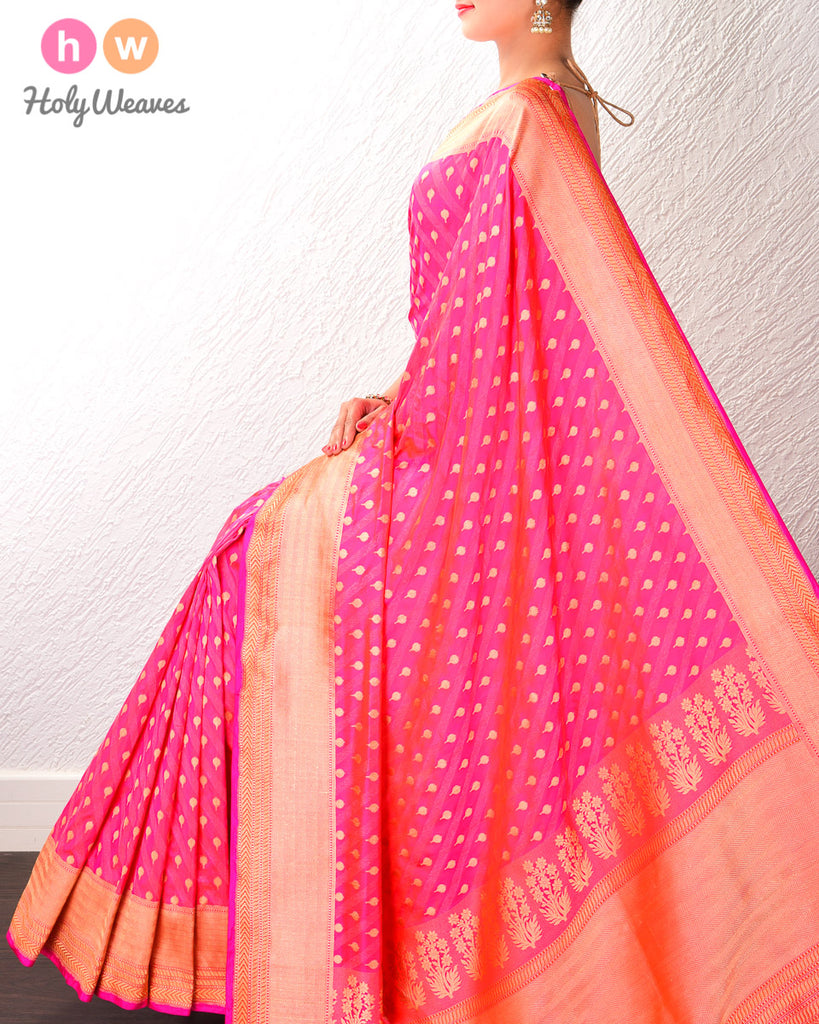 Ruby Pink Banarasi Alfi (अल्फ़ी) Cutwork Brocade Handwoven Katan (कतान) Silk Saree with Brocade Blouse Piece