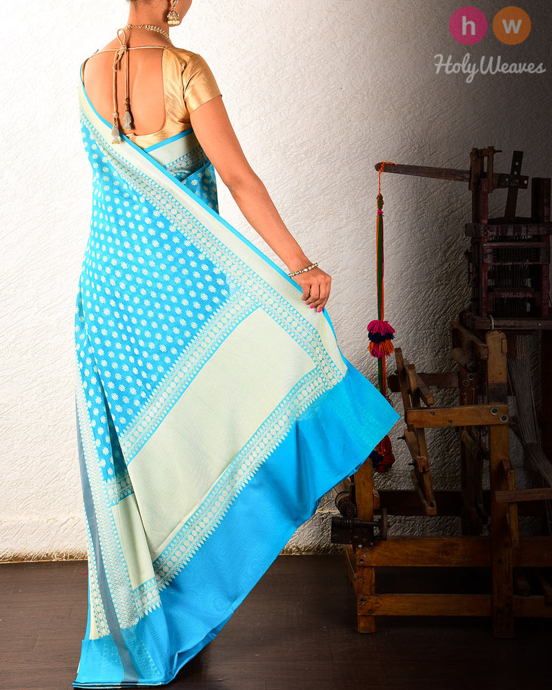 Blue Banarasi Cutwork Brocade Woven Art Cotton Silk Saree - HolyWeaves