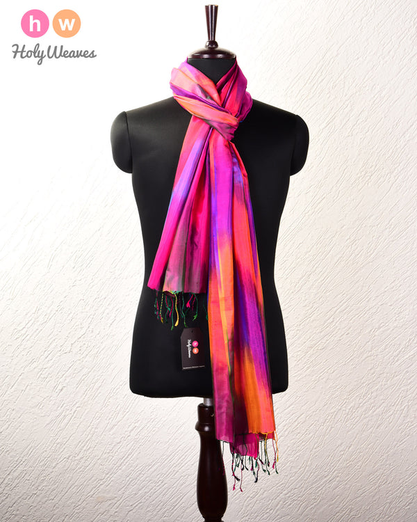 "Vibgyor Pink Banarasi Ikat Woven Katan Silk Scarf with Multi-color Warp and Red weft 95""x36"" - HolyWeaves"