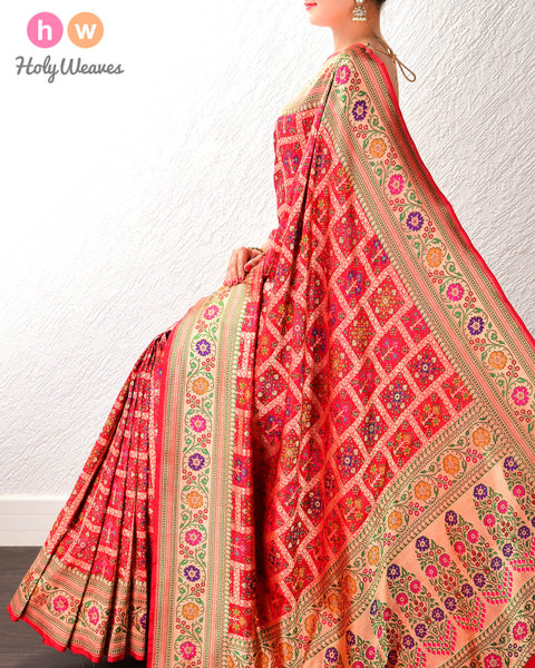 Red Banarasi Gharchola Tehri Cutwork Brocade Handwoven Katan (कतान) Silk Saree with Paithani Border & Pallu