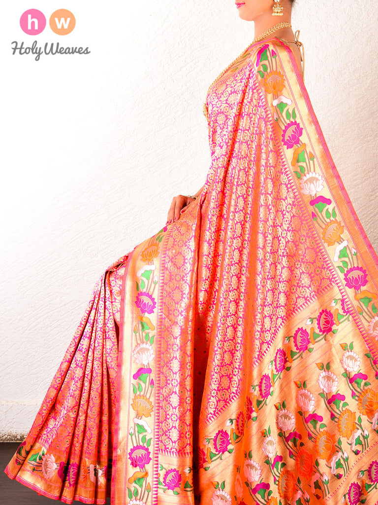 Pink Banarasi Alfi (अल्फ़ी) Cutwork Brocade Handwoven Katan (कतान) Silk Saree with Paithani Border & Pallu