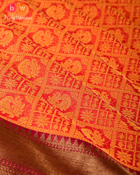 Red-Yellow Chequered Cutwork Brocade Woven Cotton Silk Saree