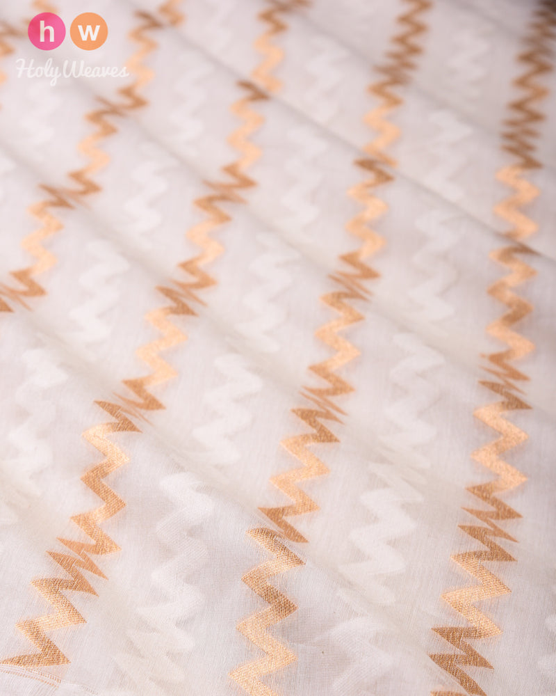 Cream Banarasi Gold and Cream Chevron Cutwork Brocade Handwoven Cotton Silk Fabric- HolyWeaves