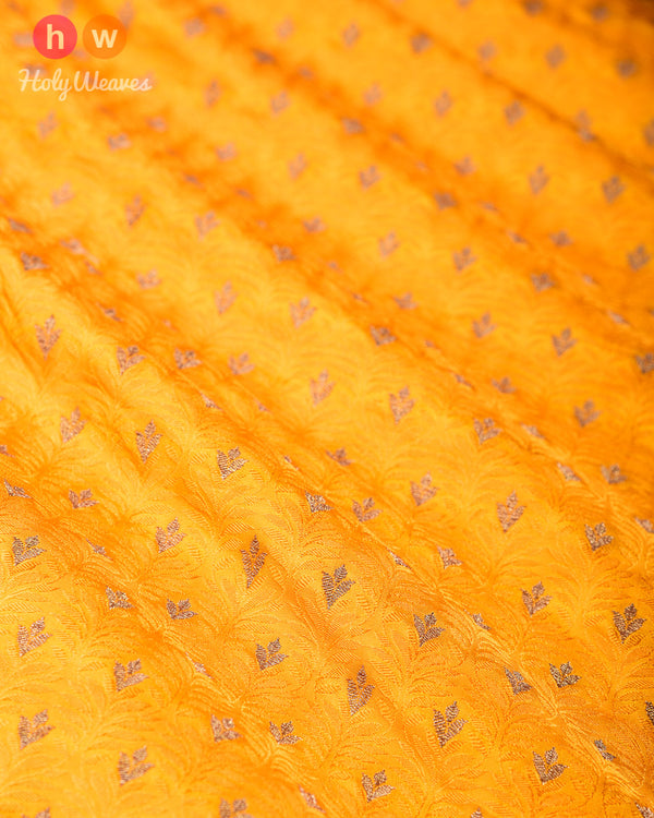 Yellow Banarasi Tanchoi Brocade Handwoven Silk Fabric- HolyWeaves