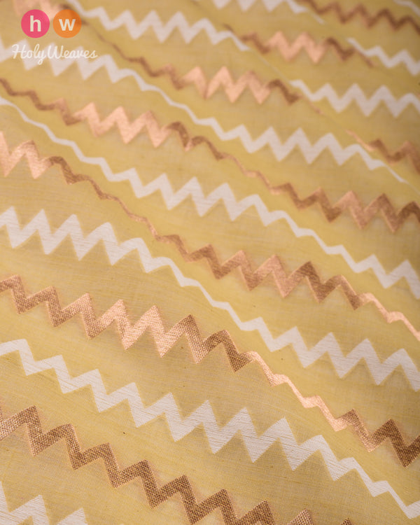 Ekru Banarasi Chevron Zig-Zag Cutwork Brocade Handwoven Cotton Silk Fabric - HolyWeaves