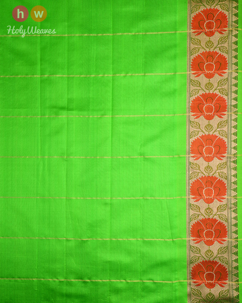Multi-color Banarasi Color-Block Kadhuan (कढ़ुआँ) Brocade Handwoven Kora (कोरा) Silk Saree with Gold-Silver Buta - HolyWeaves
