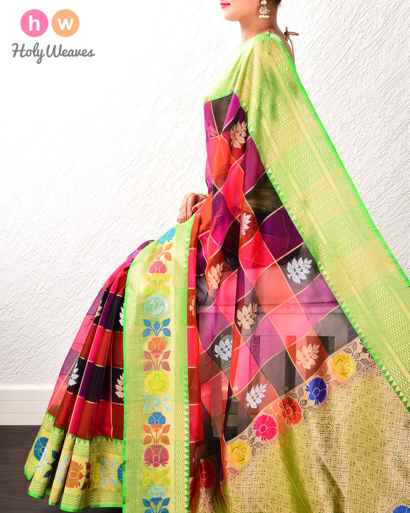 Multi-color Banarasi Color-Block Kadhuan (कढ़ुआँ) Brocade Handwoven Kora (कोरा) Silk Saree with Gold-Silver Buta