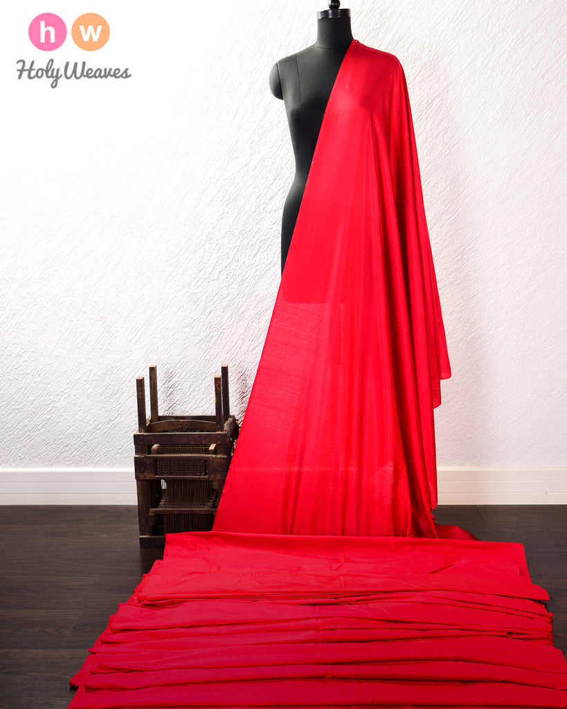 Red Pure Silk Plain Fabric