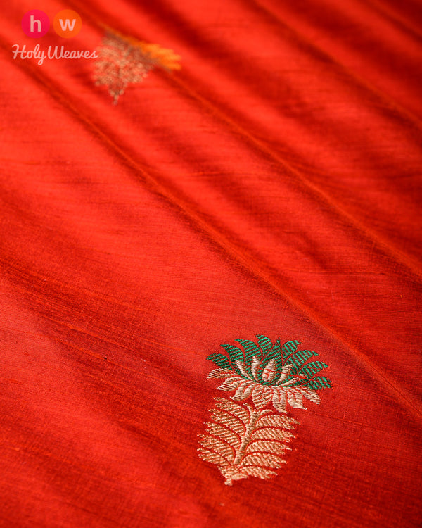 Rust Kadhuan (कढ़ुआँ) Brocade Handwoven Raw Silk Fabric