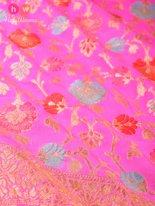Rose Pink Banarasi Meena Jaal Alfi (अल्फ़ी) Cutwork Brocade Woven Khaddi (खड्डी) Georgette Dupatta - HolyWeaves