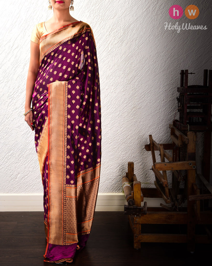 Purple Banarasi Zari Buti Cutwork Brocade Handwoven Katan (कतान) Silk Saree with Brocade Blouse Piece