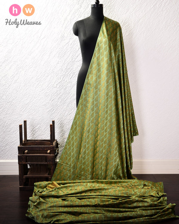 Moss Green Banarasi Tilfi Jamawar (जामावार) Handwoven Katan (कतान) Silk Fabric - HolyWeaves