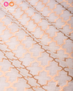 Cream Banarasi Cutwork Brocade Handwoven Cotton Silk Fabric- HolyWeaves
